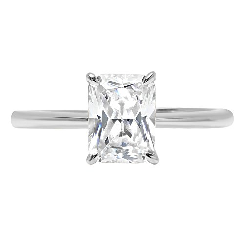 Clara Pucci 2.6ct Radiant Brilliant Cut Simulated Diamond Classic Solitaire Designer Statement Ring Solid 14k White Gold for Women, (Radiant Solitaire Ring)