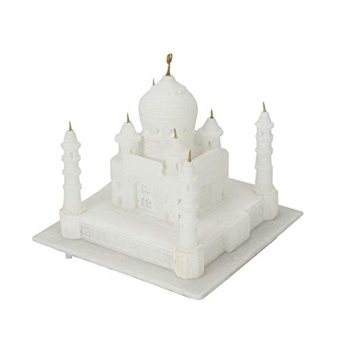 MANSHI CREATION Indian White Marble Handmade Agra Taj Mahal Replica Model-White (9 INCH)