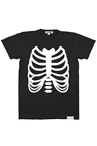 Mens Skeleton T-Shirt Halloween Costume Top Black