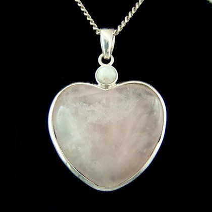 Quartz Moonstone Pendant (Rose Quartz Two Stone Heart Pendant)