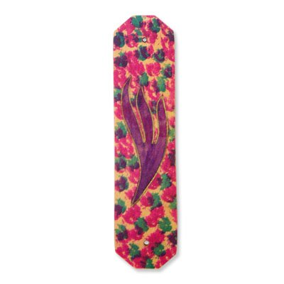 Brown Wooden Mezuzah with Large Hand Painted 'Purple' Shin and Mauve Purple and Green Flowers. Does Not Include Parchment.
