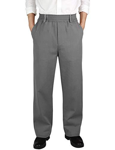 IDEALSANXUN Men's Casual Relaxed Fit Elastic Waist Twill Pant (Dark Grey(Twill), 44)