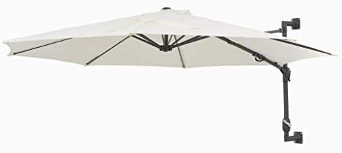壁に取り付けられたパラソル付きメタルポール300 cm砂の家の庭芝生の庭屋外の生活屋外の傘サンシェード