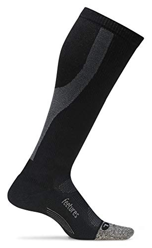 Feetures - Elite Graduated Compression Light Cushion - Knee High - Athletic Running Socks for Men and Women - Black - Size Large