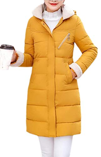 Down Yellow Thicken Women Winter EKU Hooded Loose Jacket Mid Long Quilted Coat p6wfaqU