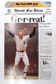 Gr R Reat 1984 Detroit Tigers Free Press Poster At Amazon S Sports Collectibles Store