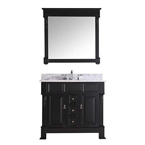 Virtu USA GS-4040-WMRO-DW Huntshire 40-Inch Single Sink Bathroom Vanity with Mirror and Ceramic Basin, Dark Walnut Finish