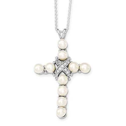 925 Sterling Silver Diamond and Cultured Pearl Cross Pendant 16in Necklace ()