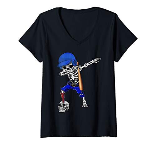 Womens Dabbing Baseball Player Halloween Costume For Men Women V-Neck T-Shirt]()