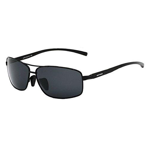 Black 2015 Aluminium Mnes Polarized Sunglasses Outdoor Driving Aviator - Clubmaster Aluminium