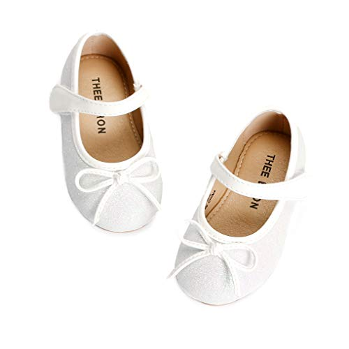 (THEE BRON Girl's Toddler/Little Kid Ballet Mary Jane Flat Shoes (5M US Toddler, G03 White))
