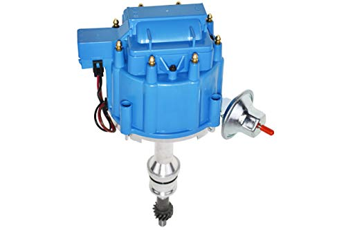 A-Team Performance Complete HEI Distributor 65K Coil 7500 RPM Compatible with Ford 351W Windsor 351W One Wire Installation Blue Cap (Ford Distributor)