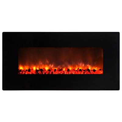 Yosemite Home Decor DF-EFP900 Small Glass Wall Hang Electric Fireplace, Black Gloss