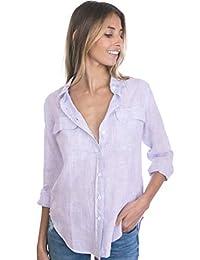 CAMIXA Camisa de MujerPuro Lino 2 Bolsillos con Tapetas Blusa Suave Top Fresco