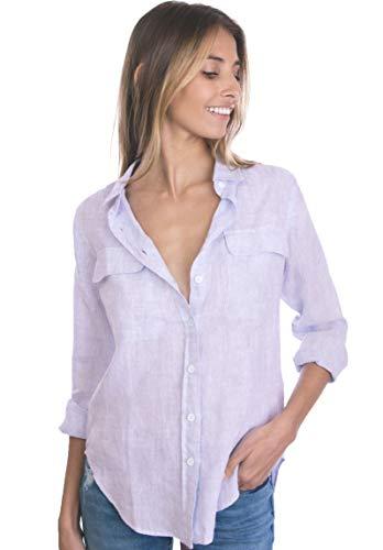 CAMIXA Womens 100% Linen Button Down Shirt Casual Basic Blouse Pockets Loose Top XS Lilac ()