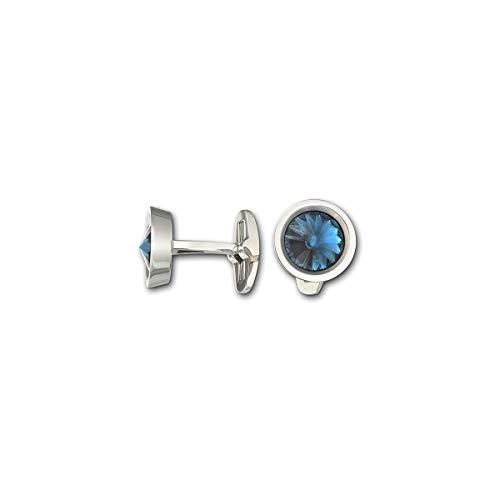 (SWAROVSKI Crystal Authentic Round Montana Cufflinks, Stainless Steel)