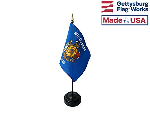 - 4x6 E-Gloss Wisconsin Stick Flag with Plastic Table Base - Qty 3