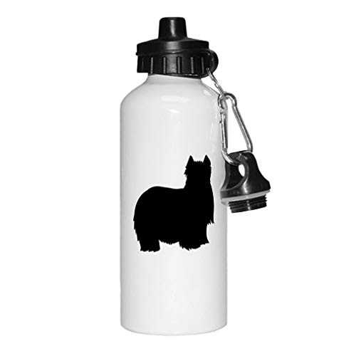 Style In Print Black Yorkshire Terrier Silhouette Aluminun White Water Bottle