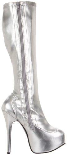 Silver High Stretch Silver Knee Boot Women's Stretch Teeze Polyurethane 2000 SSPU Pleaser zwHx0X8fz