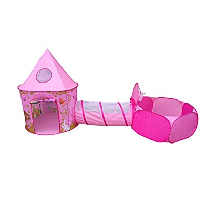Playz 3pc Girls Princess Fairy Tale Castle Play Tent, Crawl Tunnel & Ball Pit w/ Pink Prairie Design - Foldable for Indoor & Outdoor Use w/ Zipper Storage Case: Toys & Games