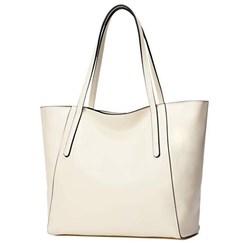 CHERRY CHICK Women's Genuine Leather Purse, Work Tote Bag Ideal Gift (Light Cream-9816)