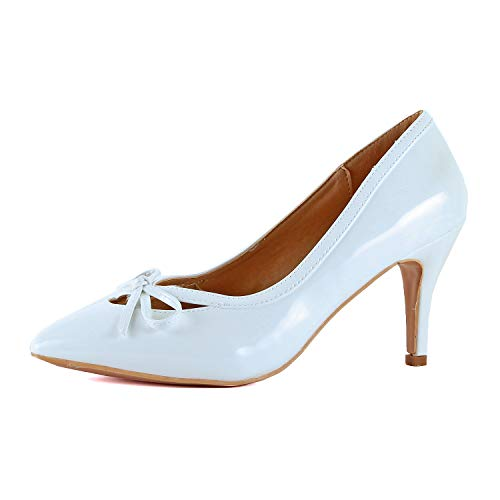 - Guilty Shoes Womens Closed Pointy Toe High Mid Stiletto Heel - Party Dress Slip On Pump (6 M US, White Patent)
