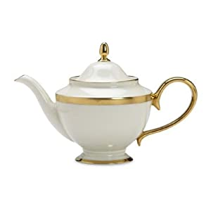 Lenox Lowell Gold Banded Ivory China Teapot