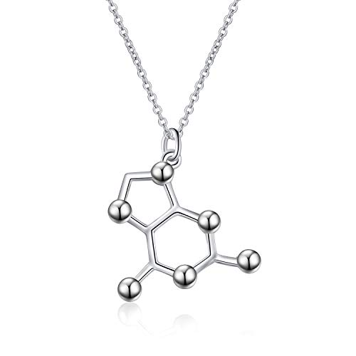 - LUHE Caffeine Necklace Sterling Silver Serotonin Molecule Science Chemistry Jewelry for Coffee Science Lovers