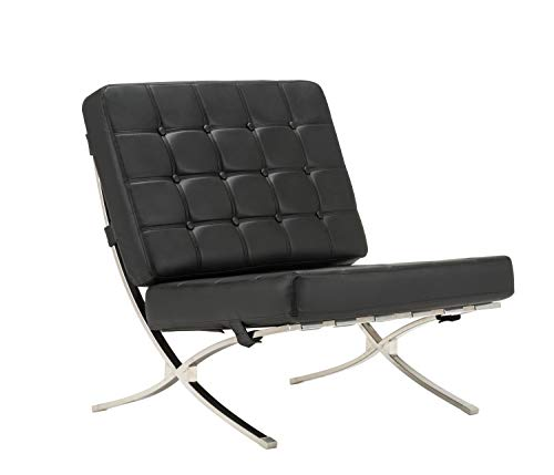 - MCombo Classic Balcony Lounge Leisure Chair w/Premium PU Leather and Stainless Steel Frame (1)