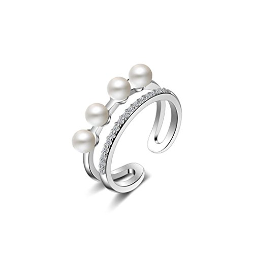 CHICY Elegant 4 Tiny Pearls Stackable Finger Toe Rings 925 Sterling Silver Best Promise Engagement Rings