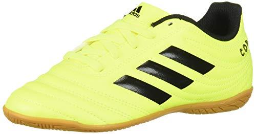 adidas Unisex Copa 19.4 Indoor Soccer Shoe, Black/Solar Yellow, 1.5 M US Little Kid