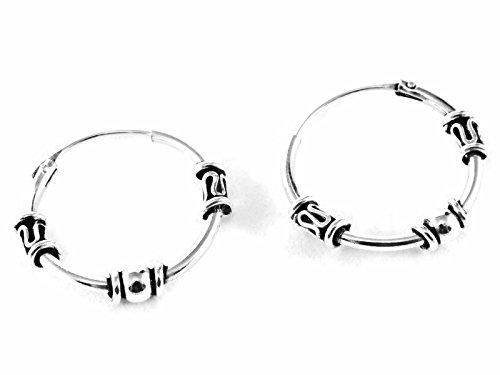 925 Silver Bali Tribal Fashion Earring Hoops Accessories Women Men Teen 5/8