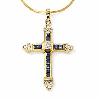 14kt Sap & Diamond Gothic Cross
