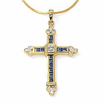 14kt Sap & Diamond Gothic Cross