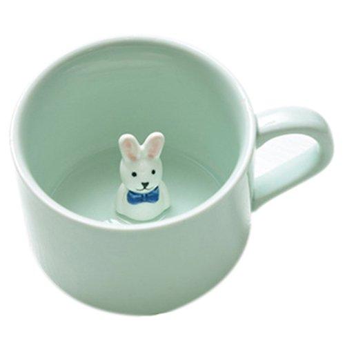 ceramic cup - SODIAL(R)Creative small ceramic milk mug with animals cute cartoon three-dimensional coffee cup Heat-resistant Celadon cup nice gift£¨Long ear rabbit£