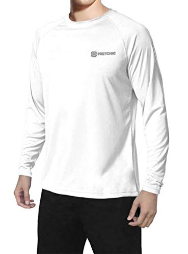 Pretchic Men's UPF 50+ UV Sun Protection Long Sleeve Outdoor T Shirt White XXL