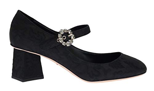 Dolce & Gabbana Black Brocade Crystal Mary Janes Shoes