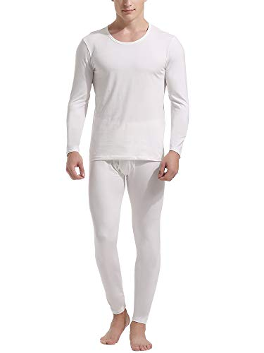 Set Underwear Cotton Long Sleeve (Amorbella Men's Thermal Underwear Set Cotton Long Johns Silk Base Layer Top and Bottom Inner Wear (White, Small))