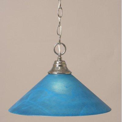 Downlight Pendant w Blue Italian Glass Shade