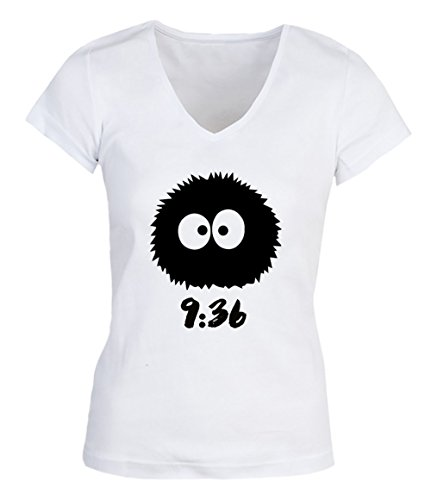 Soot Sprite Totoro Black Time Date Damen V-neck T-shirt