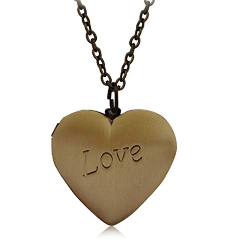 Photo Locket Necklace That Holds 2 Pictures Vintage Love Heart Pendant for Girls Kid Long Chain