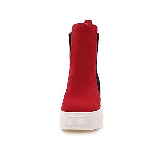 AgooLar Damen Rund Zehe Ziehen auf Mattglasbirne Gemischte Farbe Niedriger Absatz Stiefel Rot