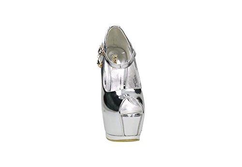 Jumex Luxus High Heels _ Party Pumps _ Peep Toe Damen Schuhe _ Designer Absatz _ Riemchen Glitzer _ BATS6203 Silber