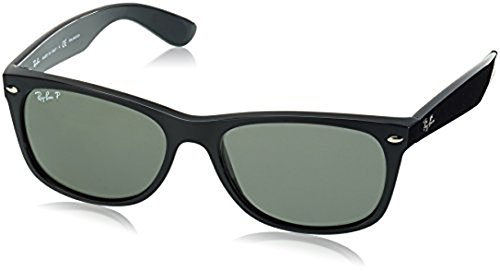Ray-Ban New Wayfarer RB2132 Sunglasses Black / Crystal Green Polarized 58mm & Cleaning Kit - 58mm Polarized Ray Wayfarer Ban New