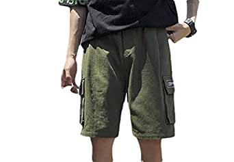 Howely Mens Plus Size Multi Pockets Workwear Outdoor Twill Cargo Shorts Army Green 2XL
