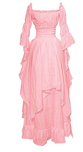 LY-VV Women Plus Size Off Shoulder Renaissance Medieval Dress Costume (5XL, z Pink) -
