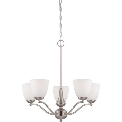nuvo lighting 60/5051Patton es 1lámpara con vidrio esmerilado, níquel cepillado, Candelabro de 5 luces/Brazos arriba,...