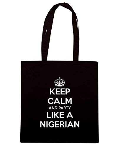 Speed Shirt Borsa Shopper Nera TKC2947 KEEP CALM AND PARTY LIKE A NIGERIAN