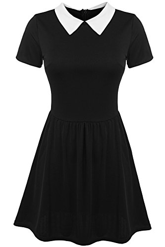 POGT Women's Short Sleeve peter pan Collar Dress (M, Black) - Sexy Wednesday Addams Costumes