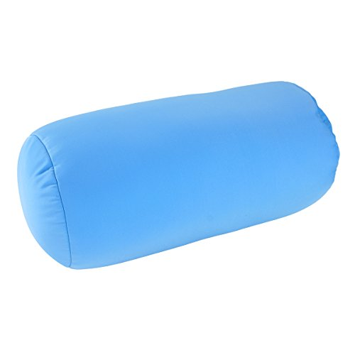 "Microbead Bolster Tube Pillow with Cushy, Stay-Cool Fill & Silky Smooth Removable Cover by Squishy Deluxe; Odorless & Hypoallergenic; Personalized Neck & Back Support; 13 X 6""; Sky Blue"